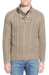 Men's Schott Nyc Toggle Cable Knit Sweater Oatmeal