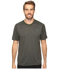 The North Face Reactor Short Sleeve V Neck Climbing Ivy Green Heather Men's Clothing Black