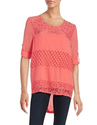 Calvin Klein Mixed Media Lace Tunic Pink