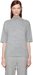 Hyke Grey Mock Neck T Shirt
