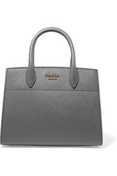 Prada Bibliotheque Textured Leather Tote Gray