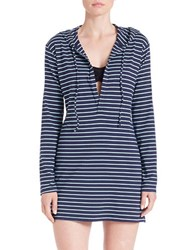 Tommy Bahama Striped Cover Up Hoodie Mare Navy Blue
