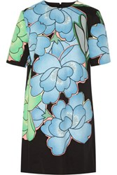 Marni Floral Print Cotton And Linen Blend Mini Dress Sky Blue