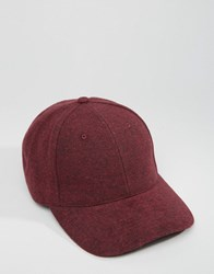 Asos Baseball Cap In Burgundy Melton Burgundy Red