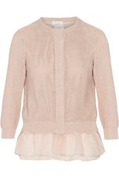 Brunello Cucinelli Cotton And Stretch Silk Cardigan And Top Set Pink