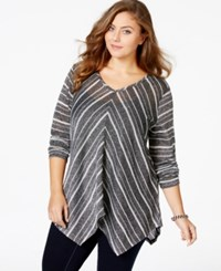 American Rag Plus Size Striped V Neck Sweater Only At Macy's Classic Black Combo