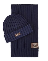 Ugg Ribbed Scarf And Hat Set Navy