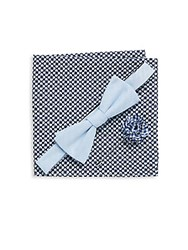 Original Penguin Three Piece Solid Bow Tie Lapel Pin And Printed Pocket Square Set Blue