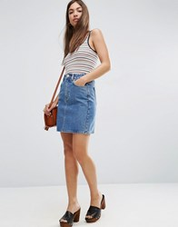 Asos Denim Original High Waisted Mini Skirt Blue
