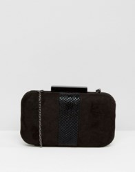 Lotus Box Clutch Bag Black Microfibre Bla