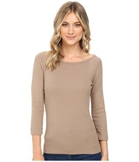 Three Dots 3 4 Sleeve British Tee Camel B Women's Long Sleeve Pullover Beige