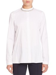 Lafayette 148 New York Excursion Stretch Alec Blouse White