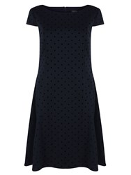 Tahari By Arthur S. Levine Fit And Flare Polka Dot Dress Navy