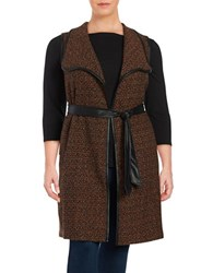 Modamix Plus Sleeveless Tweed Belted Duster Brown