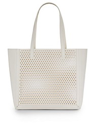 Loeffler Randall Perforated Leather Tote Cream