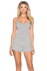 Lucca Couture Striped Fitted Romper Black