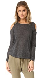 Splendid Cold Shoulder Top Charcoal Black