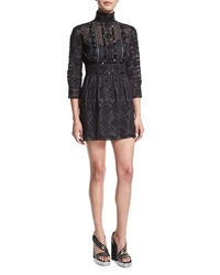 Marc Jacobs Beaded Lace Victorian Mock Neck Dress Black