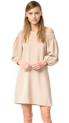 Tibi Off Shoulder Dress Sand Blush