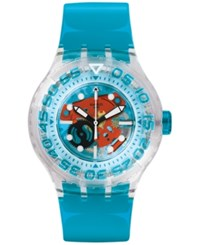 Swatch Unisex Swiss O Tini Blue Plastic Strap Watch 42Mm Suuk103