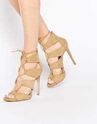 New Look Lace Up Heeled Sandal Beige