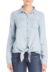 7 For All Mankind Tie Front Denim Shirt Ibiza Clear Blue