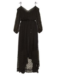 Zimmermann Realm Polka Dot Embroidered Silk Georgette Dress Black