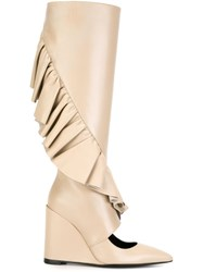 J.W.Anderson J.W. Anderson Ruffle Detail Wedge Boots Nude And Neutrals