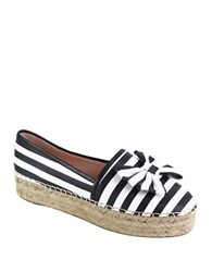 Kate Spade Linds Leather Espadrilles Slip Ons Black White