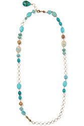 Chan Luu Gold Tone Stone Necklace Turquoise