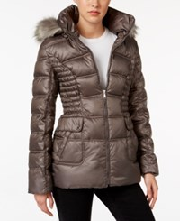 Laundry By Design Faux Fur Trim Quilted Puffer Coat Smokey Grey