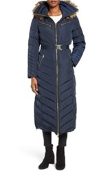 Michael Michael Kors Women's Belted Down And Feather Fill Long Coat With Faux Fur Trim Hood Navy