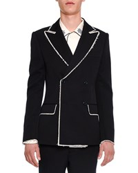 Alexander Mcqueen Double Breasted Blazer With Fringed Edges Navy Size 50