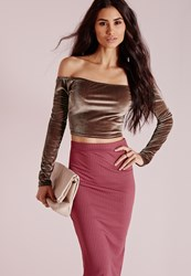 Missguided Velvet Bardot Crop Top Taupe Grey