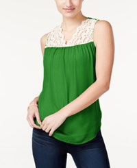 Self Esteem Belle Du Jour Juniors' Crochet Trim Sleeveless Blouse Clover