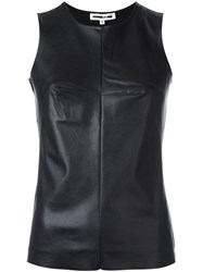 Mcq By Alexander Mcqueen Faux Leather Panel Top Black