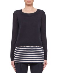 Akris Punto Long Sleeve Solid Striped Knit Sweater Navy