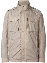 Moncler Military Style Jacket Nude And Neutrals