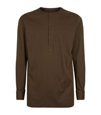 Helmut Lang Collarless Henley T Shirt Male Olive