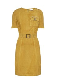 Thierry Mugler Short Sleeved Belted Suede Dress Khaki