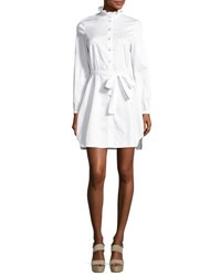 Opening Ceremony Long Sleeve Belted Sateen Shirtdress White