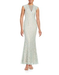 Betsy And Adam Embellished Lace Gown Mint Nude