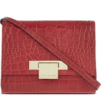 Kurt Geiger Annie Crocodile Embossed Leather Cross Body Bag Red