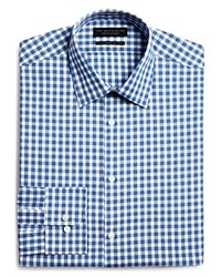 Bloomingdale's The Men's Store At Gingham Check Regular Fit Dress Shirt Blue