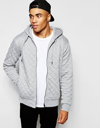 New Look Zip Through Hoodie In Quilted Fabric Grey