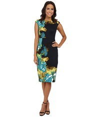 Maggy London Brushed Rose Printed Ponte Sheath Deep Teal Women's Dress Green