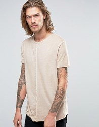 Asos Longline T Shirt With Pigment Wash And Raw Seams In Beige Peach
