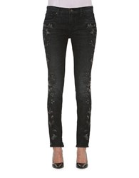 Driftwood Floral Embroidered Pants Black