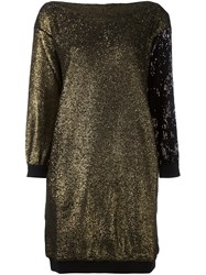 Sonia Rykiel Sequin Embellished Sweatshirt Dress Metallic