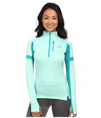 The North Face Impulse Active 1 4 Zip Pullover Surf Green Heather Kokomo Green Women's Long Sleeve Pullover Blue
